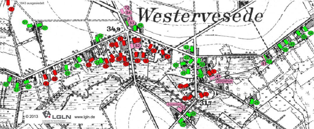 Westervesede - Höfe um 1860