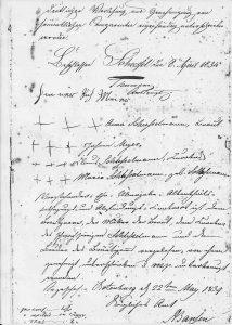 Ehevertrag 1834 (Auszug)