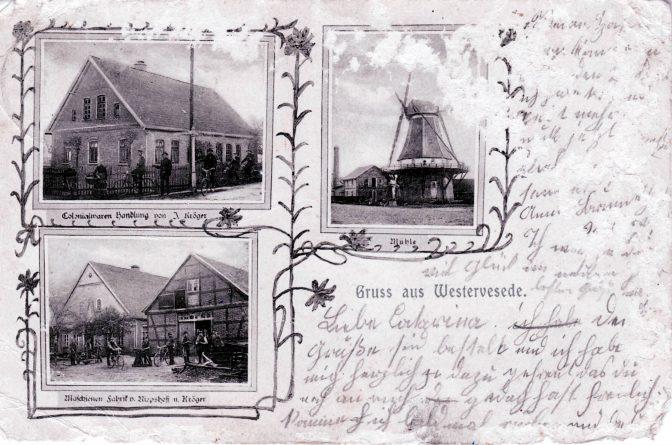 Kolonialwarenhandlung J. Kröger (später Bischoff) / die Mühle / Maschinenfabrik Riepshoff & Krög